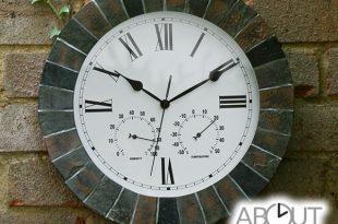 14in Slate Effect Outdoor Garden Clock $59.