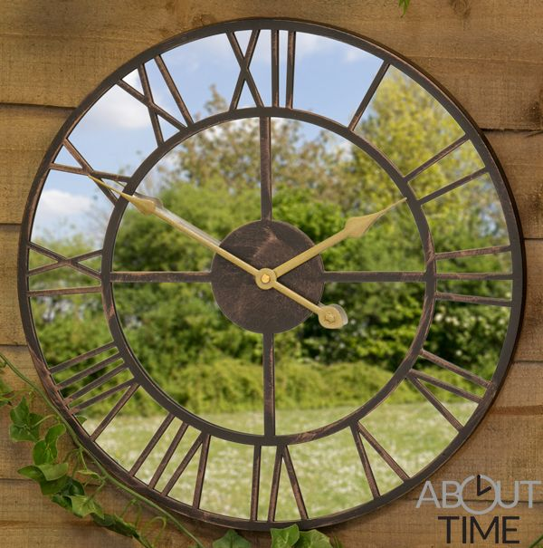 40cm Metal Roman Numeral Mirror Garden Clock - by About Time .
