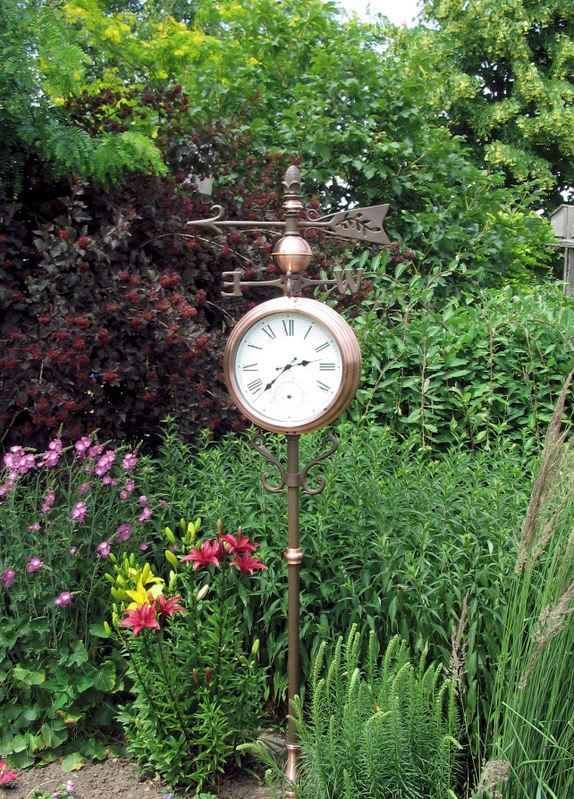 I'd love to have this copper outdoor clock and thermometer .