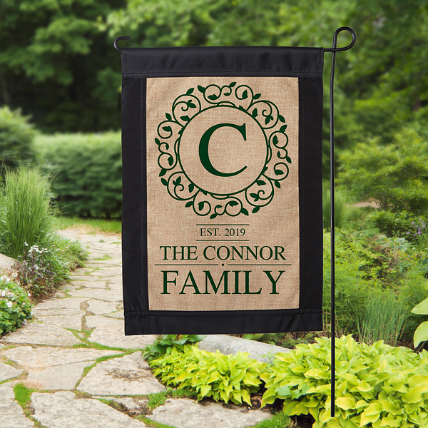 Circle & Vine Monogram Personalized Burlap Garden Flag | Burlap .