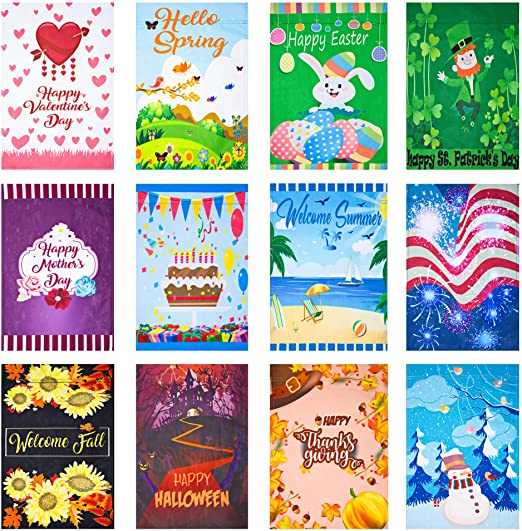 Amazon.com : CANCLO Seasonal Garden Flag Set of 12 - Festive Flags .