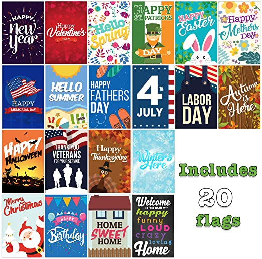 Amazon.com : Seasonal Garden Flags Set | 20 Pack Assortment of 12 .