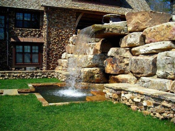 Waterfall Home Garden Fountains Applying A Fountain For Garden .