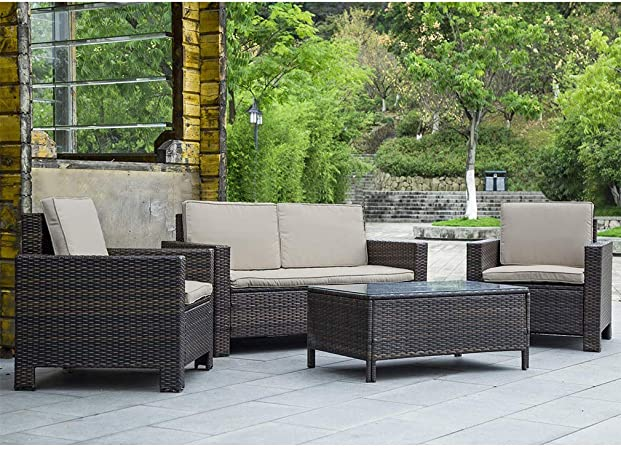 Amazon.com : Patio Furniture Set 4pcs Outdoor PE Rattan Wicker .