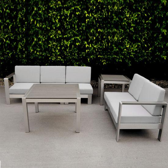China Metal Outdoor Garden Furniture Poly Wood Aluminum Sofa Set .