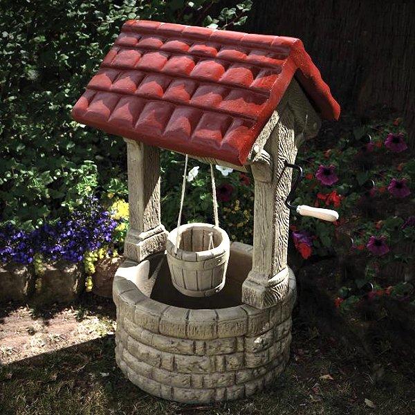Stone Wishing Well Garden Orname