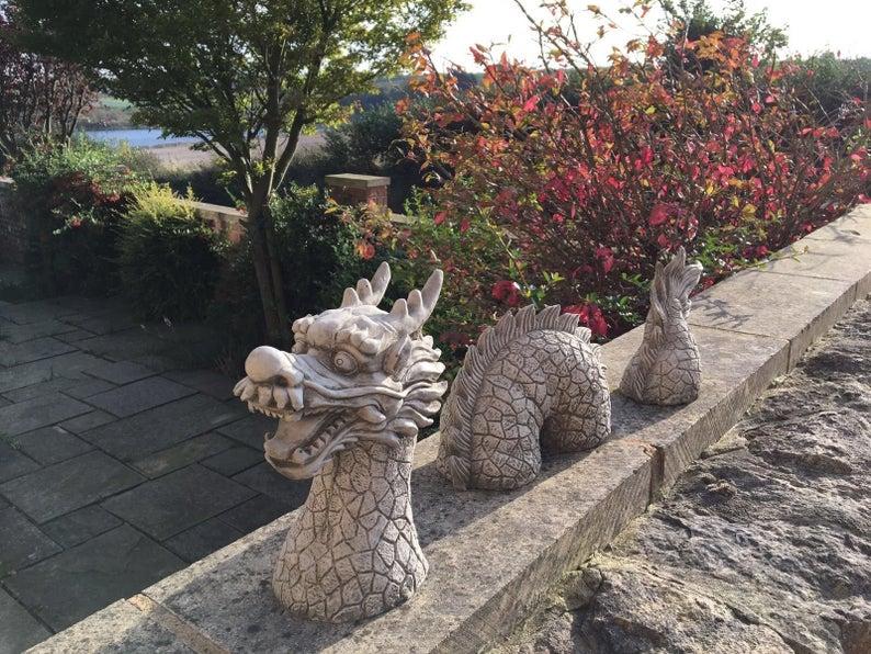 Decorative Stone Oriental Dragon Sculpture Garden Ornament | Et