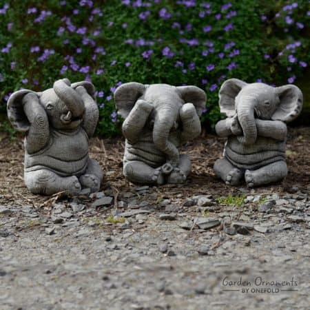 WISE ELEPHANT Speak See Hear No Evil SET OF 3 Stone Garden .