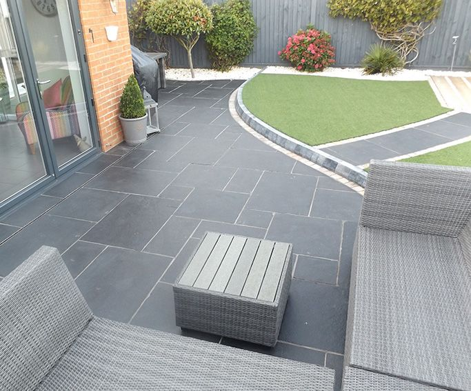 Carbon Black Limestone Flagstones | Modern Patio | Landscaping .