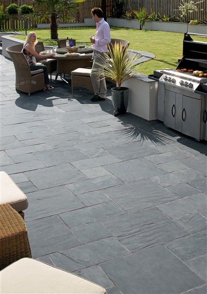 Natural Slate Paving, Midnight Blue (MB) … | Garden paving .