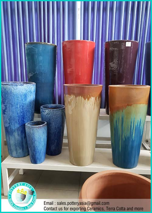 Tall Glazed Ceramic Garden Pots - Pottery AS