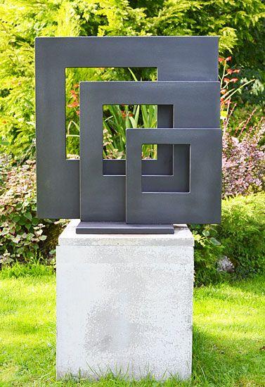 Squares. garden sculpture in metal, modern design sculpture .