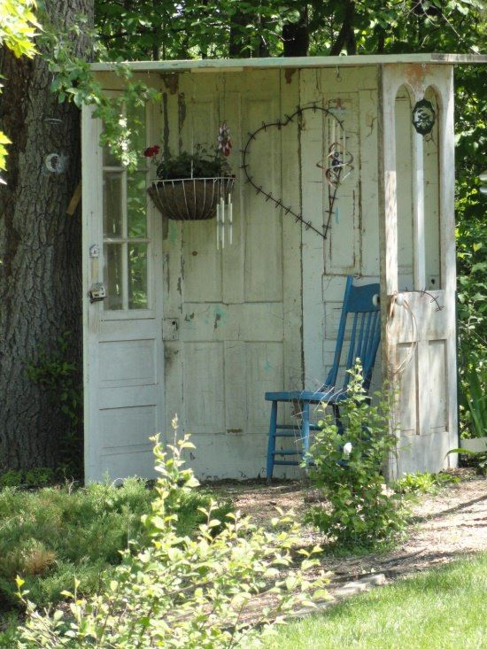 Garden shelter made from old doors | Garden nook, Outdoor gardens .