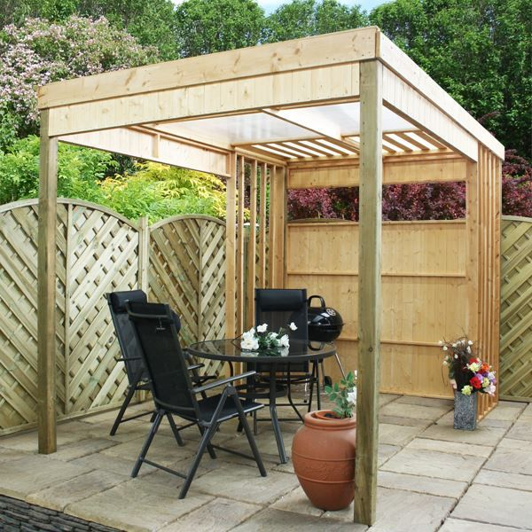 11 x 7 Waltons Contemporary Garden Shelter with BBQ Area | Modern .