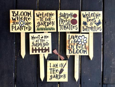 Set Of 3 Garden Stakes, Garden Decor – Woodticks Wood'n Sig