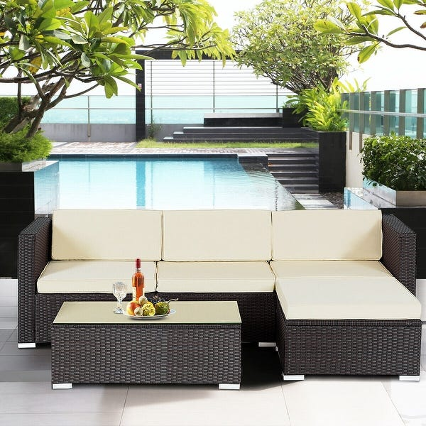 Shop Gymax Rattan Wicker Table Shelf Garden Sofa 5 PCS Patio .