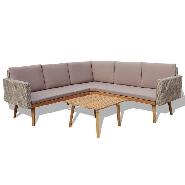 Shop vidaXL 4 Piece Garden Lounge Set with Cushions Poly Rattan .