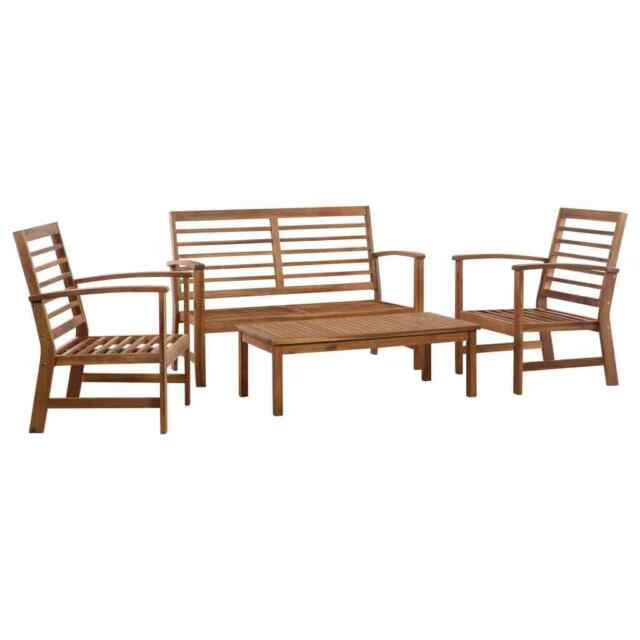 vidaXL 4 Piece Solid Acacia Wood Garden Sofa Set Furniture Chairs .