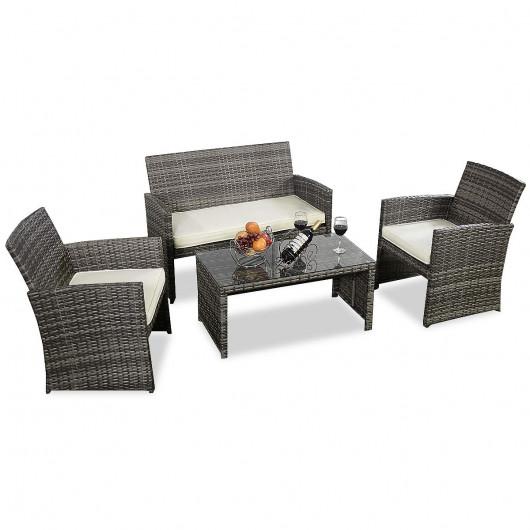 Outdoor Garden Patio 4-Piece Cushioned Seat Mix Gray Wicker Sofa .