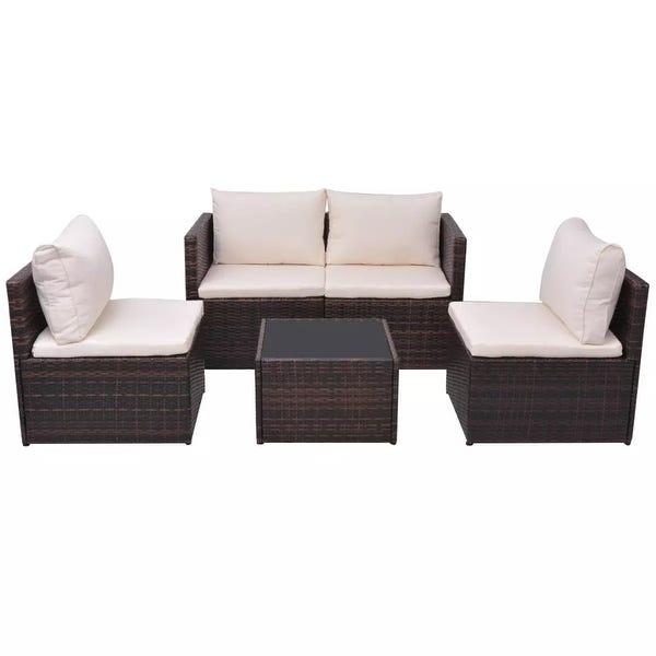 Shop vidaXL Garden Sofa Set 13 Piece Wicker Brown Outdoor .