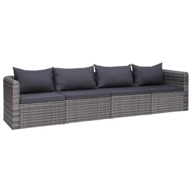 vidaXL 4 Piece Garden Sofa Set with Cushions Gray Poly Rattan .