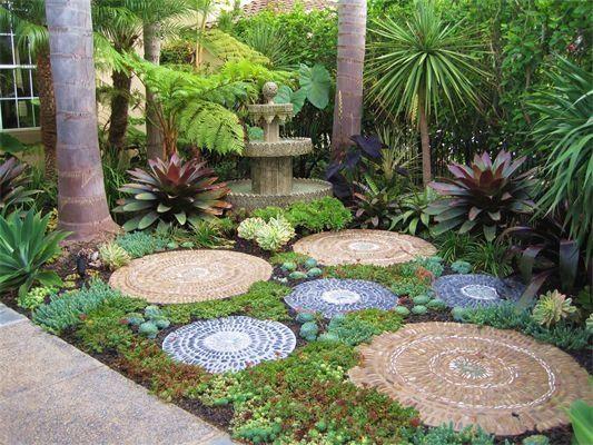succulent garden stepping stones - Google Search   Mosaic garden .