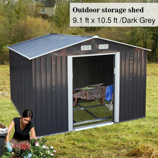 8' X 6' Garden Storage Shed Tool House Sliding Door Steel Gray .