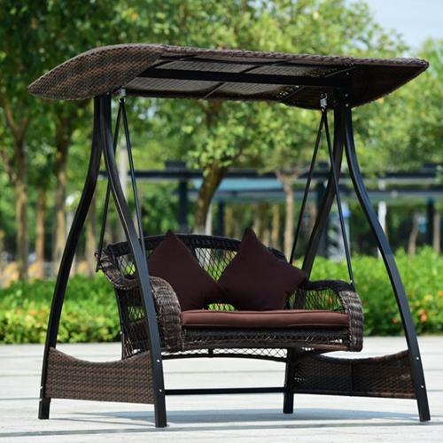 Rattan Double Seater Luxury Garden Swings with Tent - E Buy Furnitu