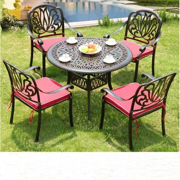 All Weather Cast Aluminum Outdoor Dining Table Set Garden .