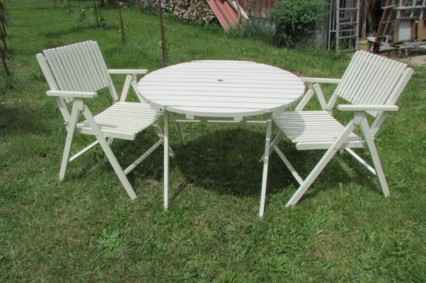 Folding Garden Table & Chairs from Gleyzes, 1950s for sale at Pamo