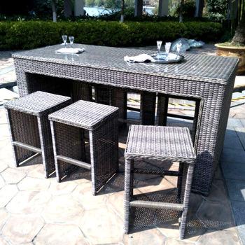 4pcs Handmade Outdoor Patio Wicker Rattan Garden Bar Chair And .
