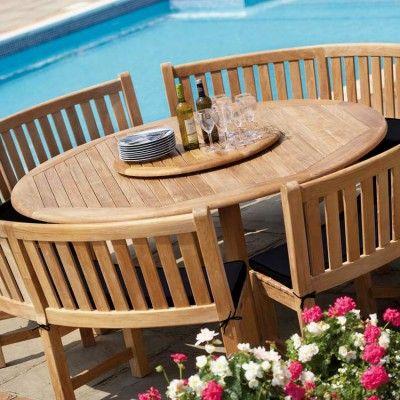 circular garden table and chairs/benches | Garden table, Backyard .