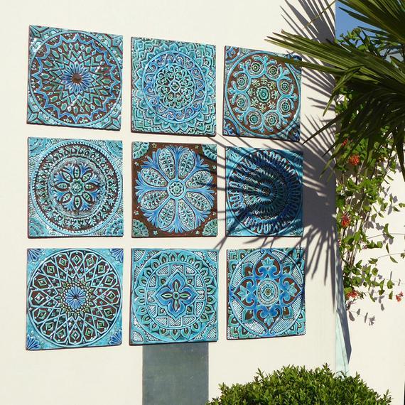 Outdoor wall art Garden decor Set of 9 ceramic garden art | Et