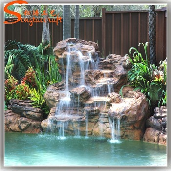Garden Waterfalls Outdoor Glass Water Wall Fountain Pool Waterfall .