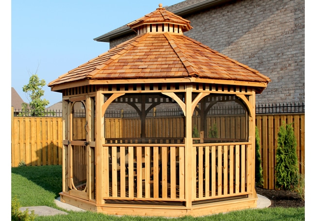 Screened Gazebo Kits, Octagon - Outdoor Living Tod