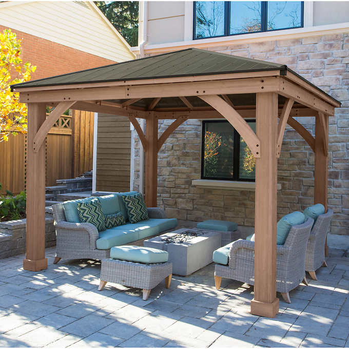12' x 12' Cedar Gazebo with Aluminum Ro