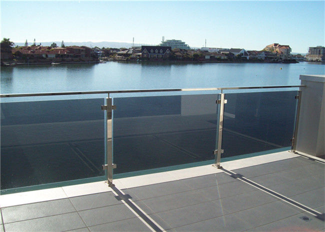 Square Post Building Railing , Outdoor Tinted Tempered Glass Deck .