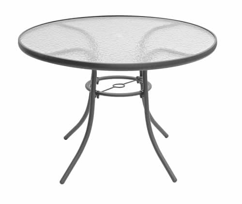 Outdoor Patio Table Round Glass Garden Deck Bistro Steel Frame .
