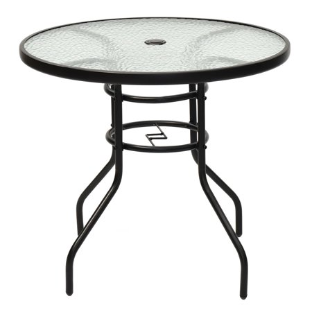 "GHP 31.5"" Round Black Steel 5mm Tempered Glass Patio Table with 2 ."