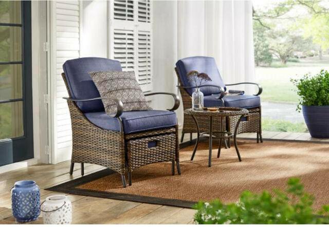 Hampton Bay Outdoor Patio Furniture Set Metal Cushions Steel-Frame .