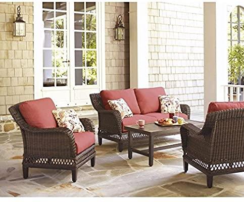 Amazon.com: Hampton Bay Woodbury 4-Piece Wicker Outdoor Patio .
