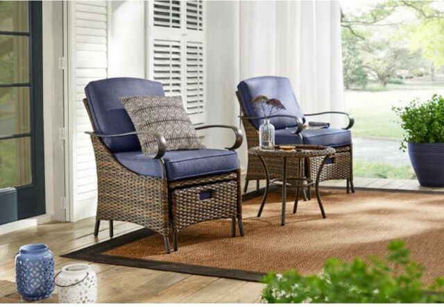 Hampton Bay Outdoor Patio Furniture Set Metal Cushions Steel-Frame .
