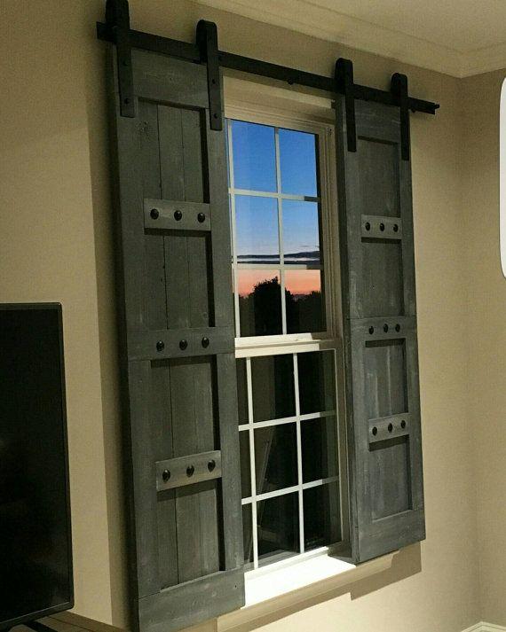 Barn Style Shutters - Window Barn Doors - Sliding Shutters .
