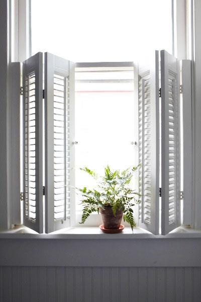 great cafe style, folding interior shutters | Window shutters diy .