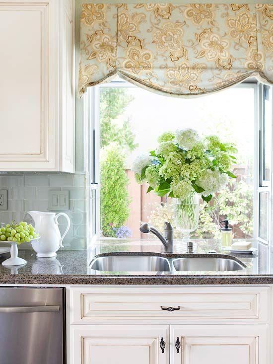 Kitchen Window Treatments | Kitchen window treatments, Kitchen .