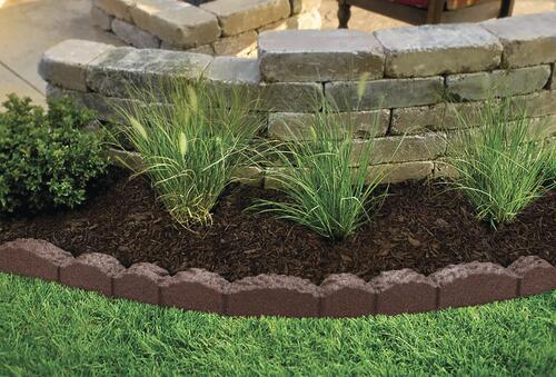 Lasting Beauty™ 4' Rubber Cobblestone Landscape Edging - Brown at .