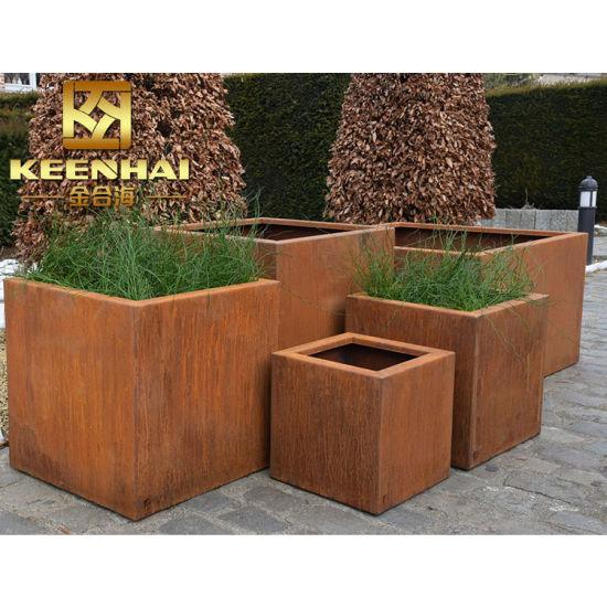 China Superior Design Corten Steel Metal Large Garden Planters .