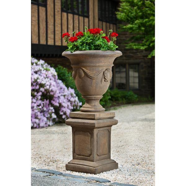 Tivoli Urn Garden Planter with Large Square Frame Garden Pedestal .