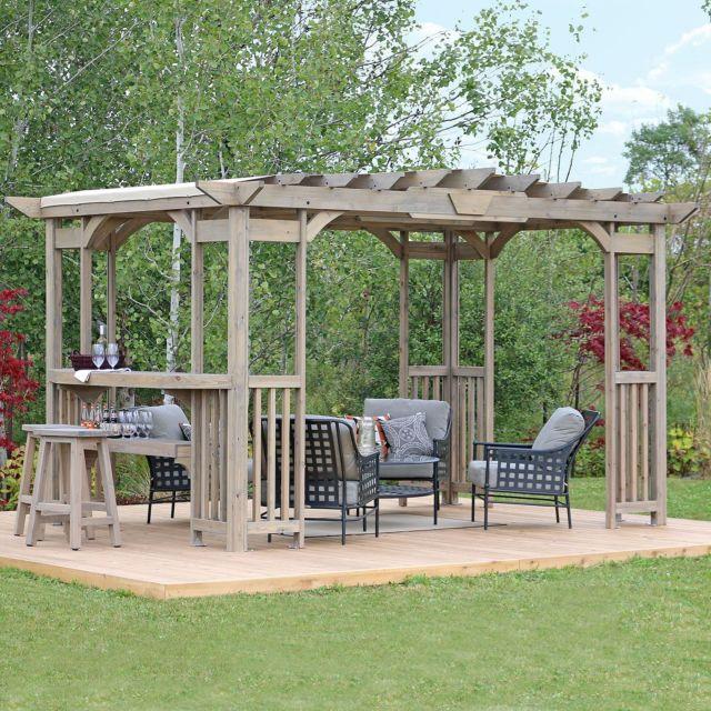 Large Outdoor Cedar Wood 14' x 10' Pergola Gazebo Pavilion w .
