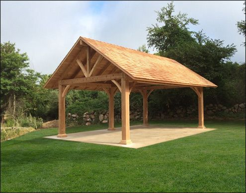 Custom 20 x 30 Large Timber Cedar Pavilion shown with 10 x 10 .